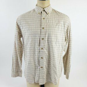 LL Bean Men Long Sleeve Collared Shirt Cotton Tan